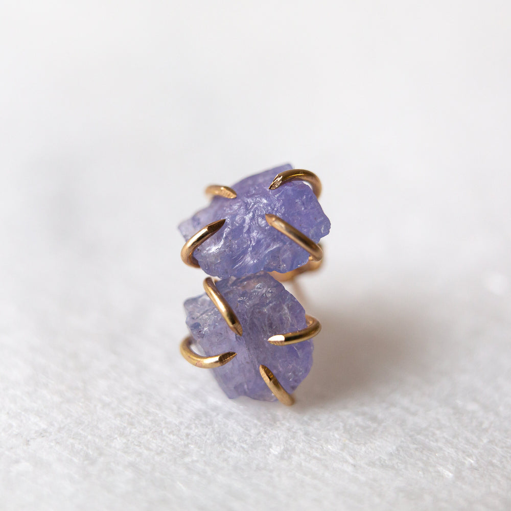 Raw blue tanzanite gemstone stud earrings (14k white/yellow/rose gold) - Luxe Zen Gems - luxe.zen