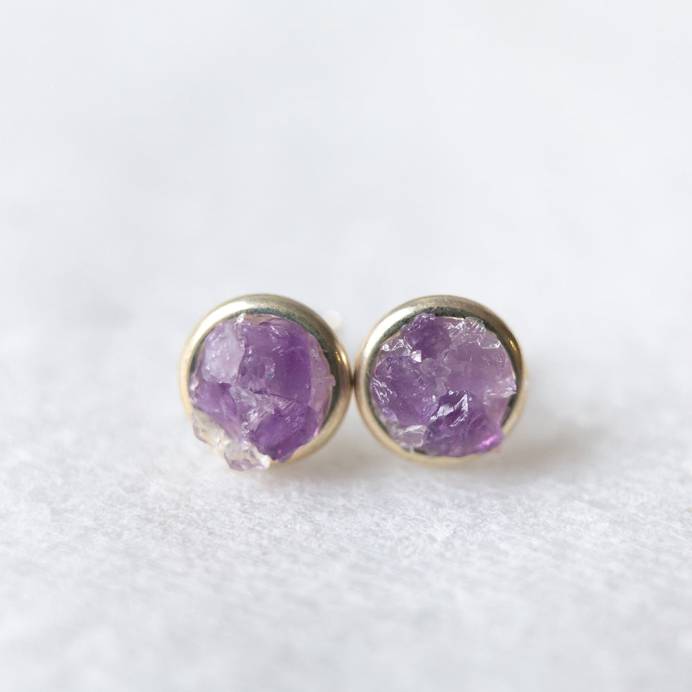 Raw amethyst + crystal quartz mosaic sterling silver stud earrings