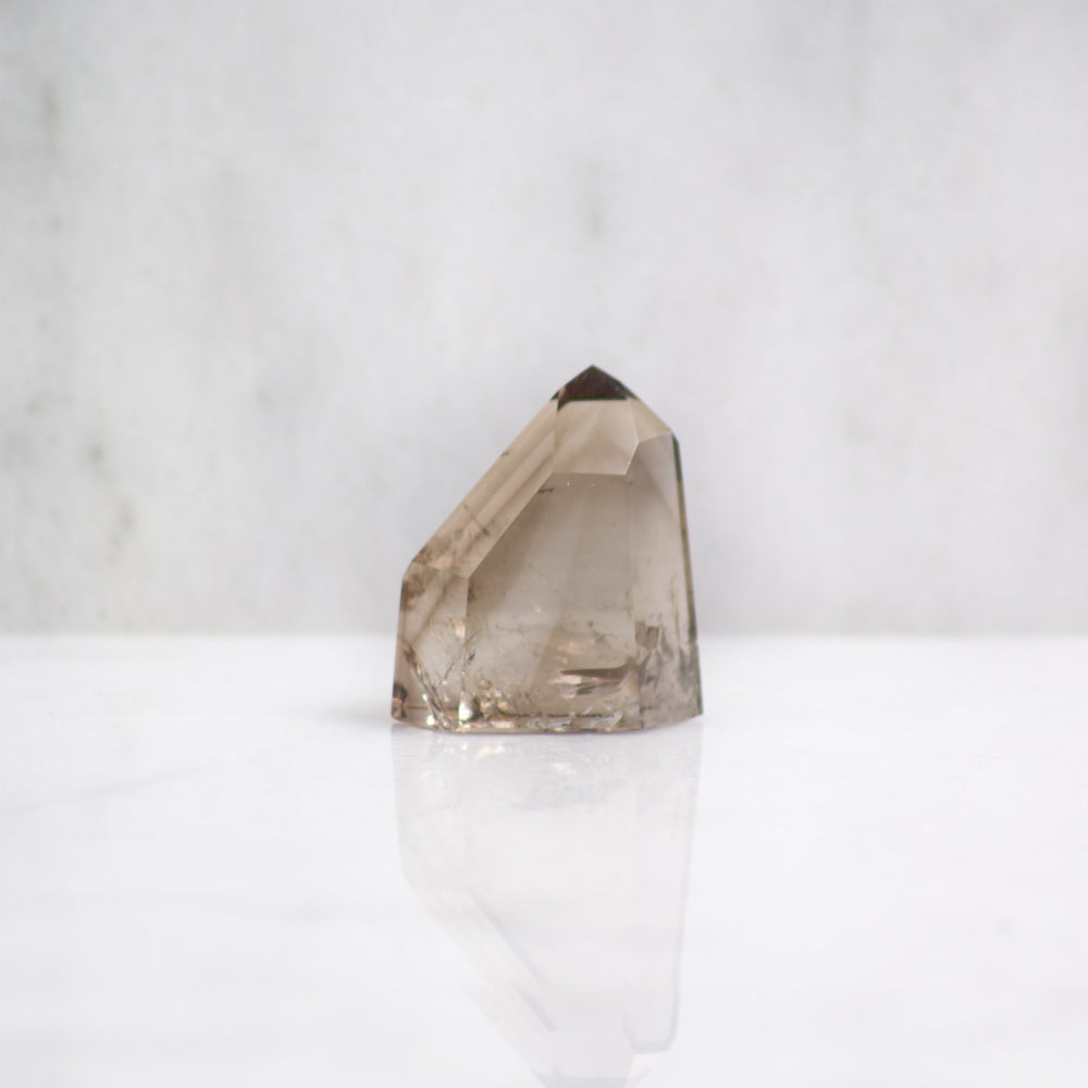 Smokey quartz crystal tower | ethically sourced smokey quartz obelisk from Brazil | smokey quartz crystal point for protection