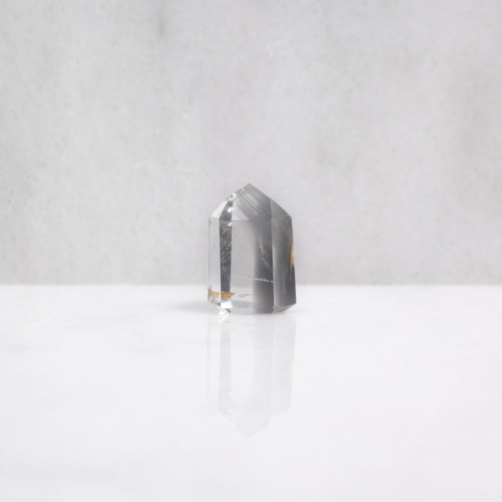 Grey lithium quartz crystal tower | ethically sourced gray lithium quartz point from Brazil | lithium quartz for release of sadness