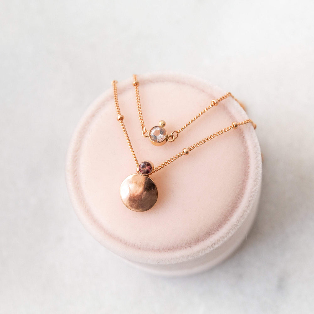 Sapphire floating necklace | natural pink-cognac Malawi umba sapphire pendant necklace | sterling silver, 14k yellow or rose gold fill