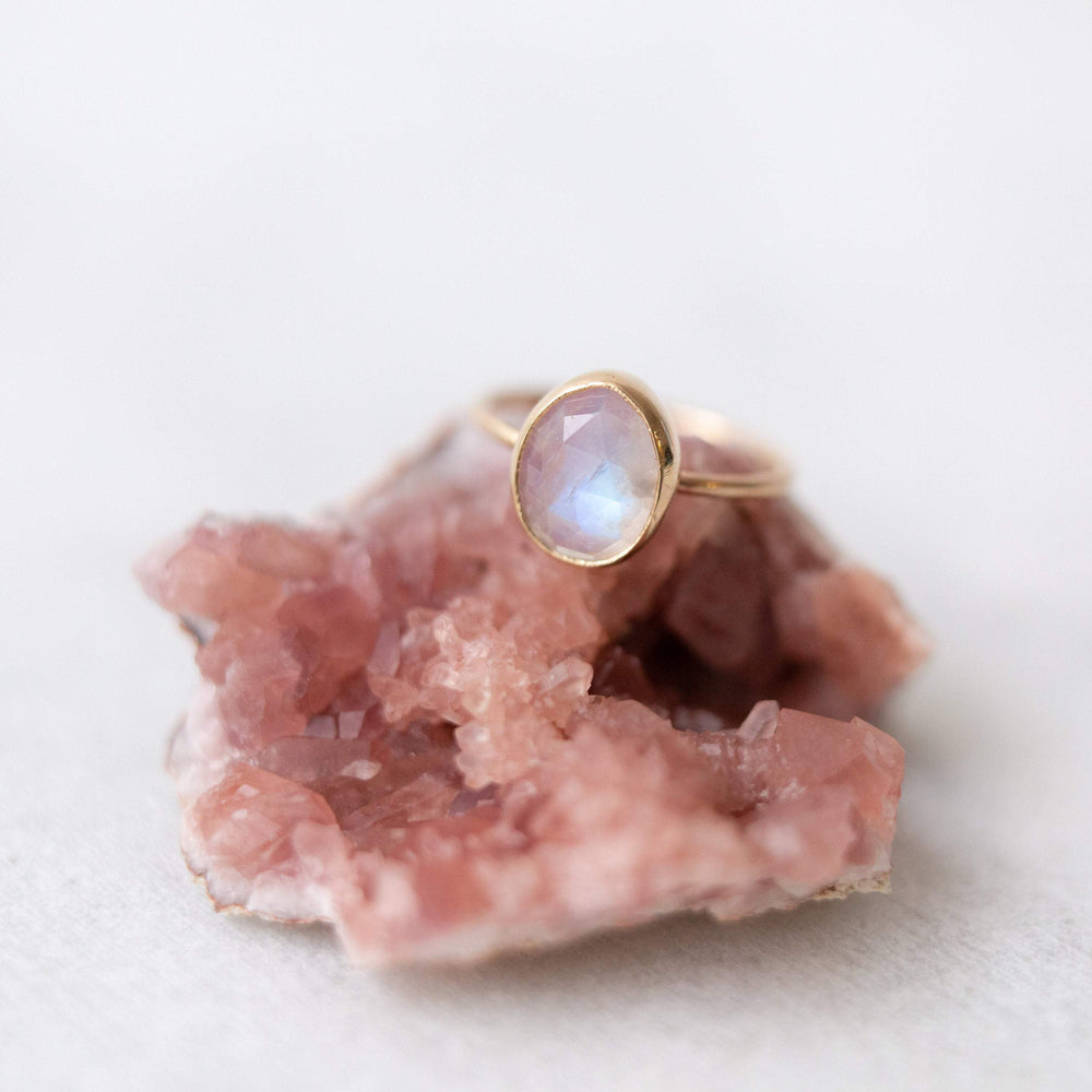 Natural moonstone ring | natural rainbow moonstone irregular shape rose cut ring | sterling silver or 14k yellow, white, or rose gold