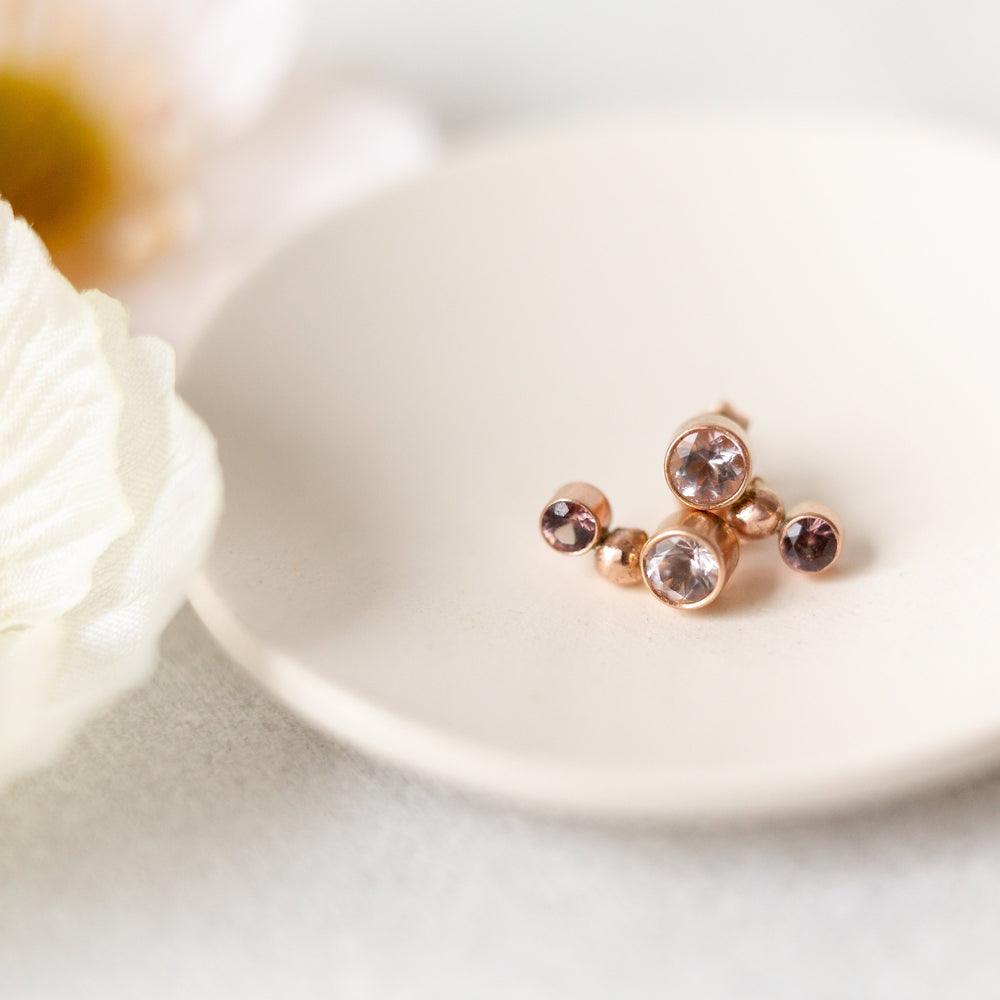 Sapphire and morganite earrings | natural pink-cognac sapphire & morganite ear climber earrings | sterling silver, 14k yellow or rose gold