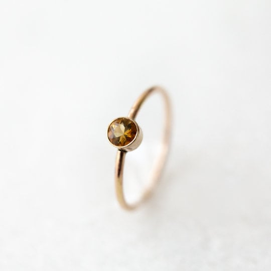 Stacking ring set | Orange Montana sapphire arch ring + Brazilian citrine nesting ring | sterling silver, 14k yellow or rose gold fill
