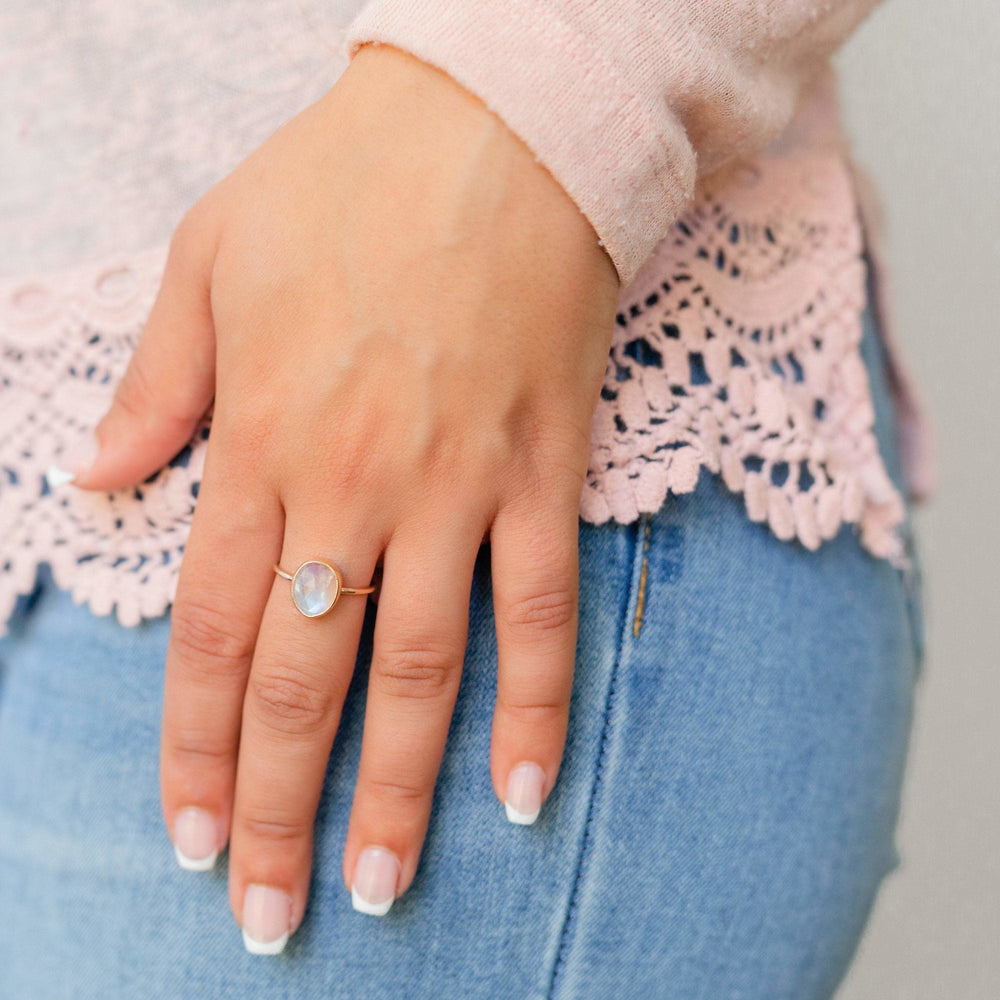 Rainbow moonstone nebula ring - luxe.zen