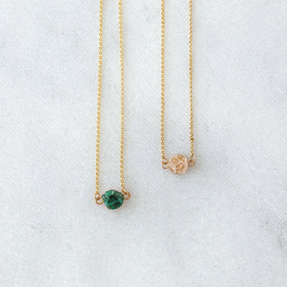 Raw emerald & malachite mosaic station layering necklace - Luxe Zen Gems - luxe.zen
