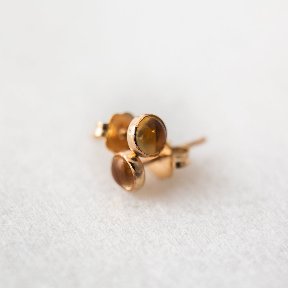 SAMPLE - Citrine bezel stud earrings