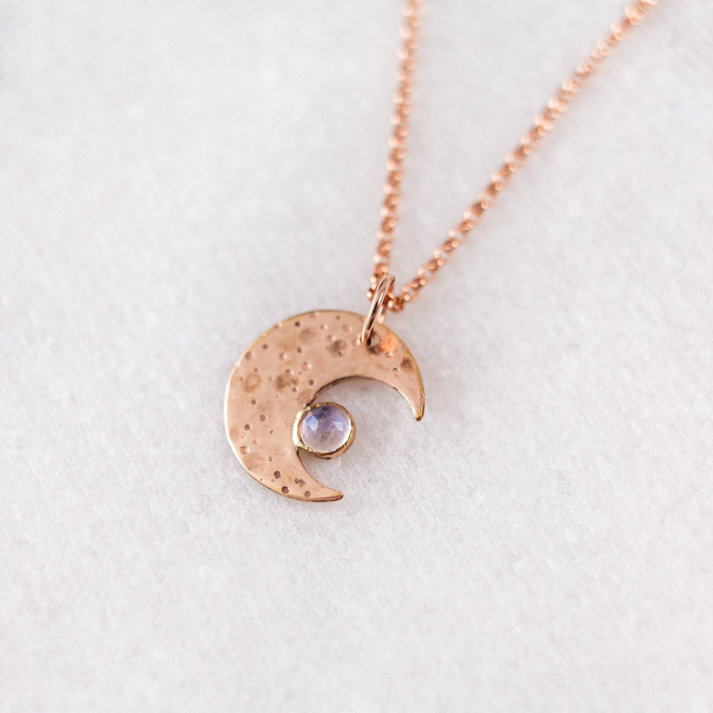 SAMPLE - Crescent moon moonstone gemstone charm necklace