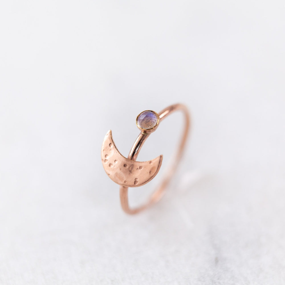 SAMPLE - Crescent moon moonstone stacking gemstone ring