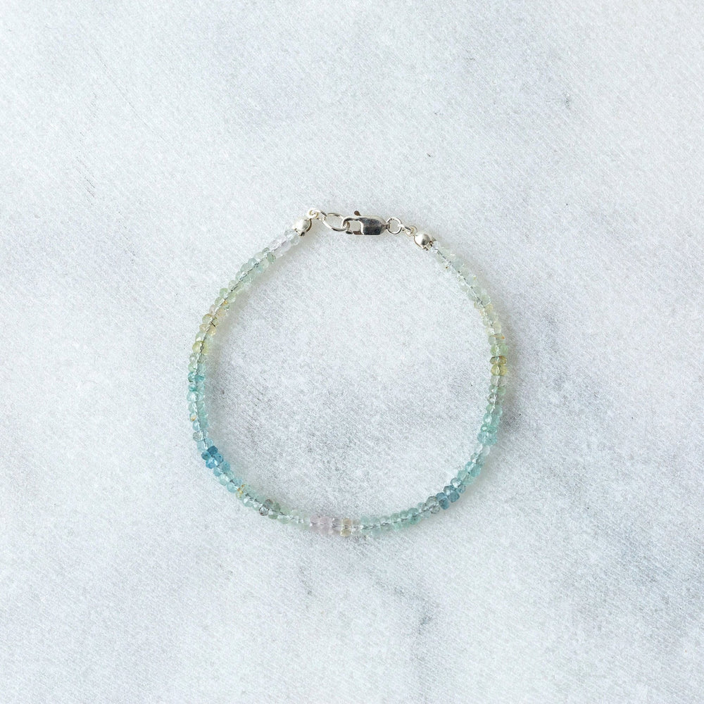 SAMPLE - Ombre aquamarine faceted rondelle gemstone bracelet - luxe.zen