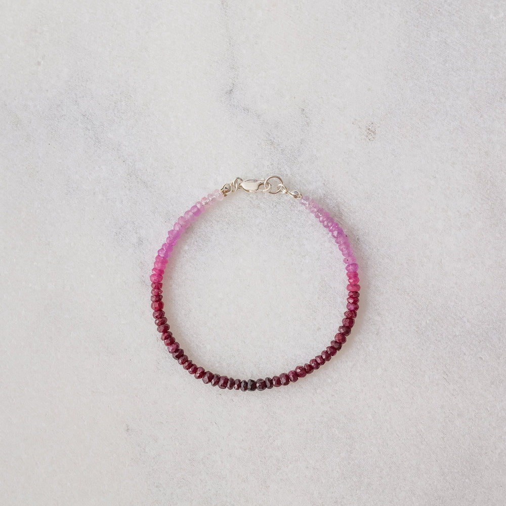 SAMPLE - Ombre ruby faceted rondelle gemstone bracelet - luxe.zen