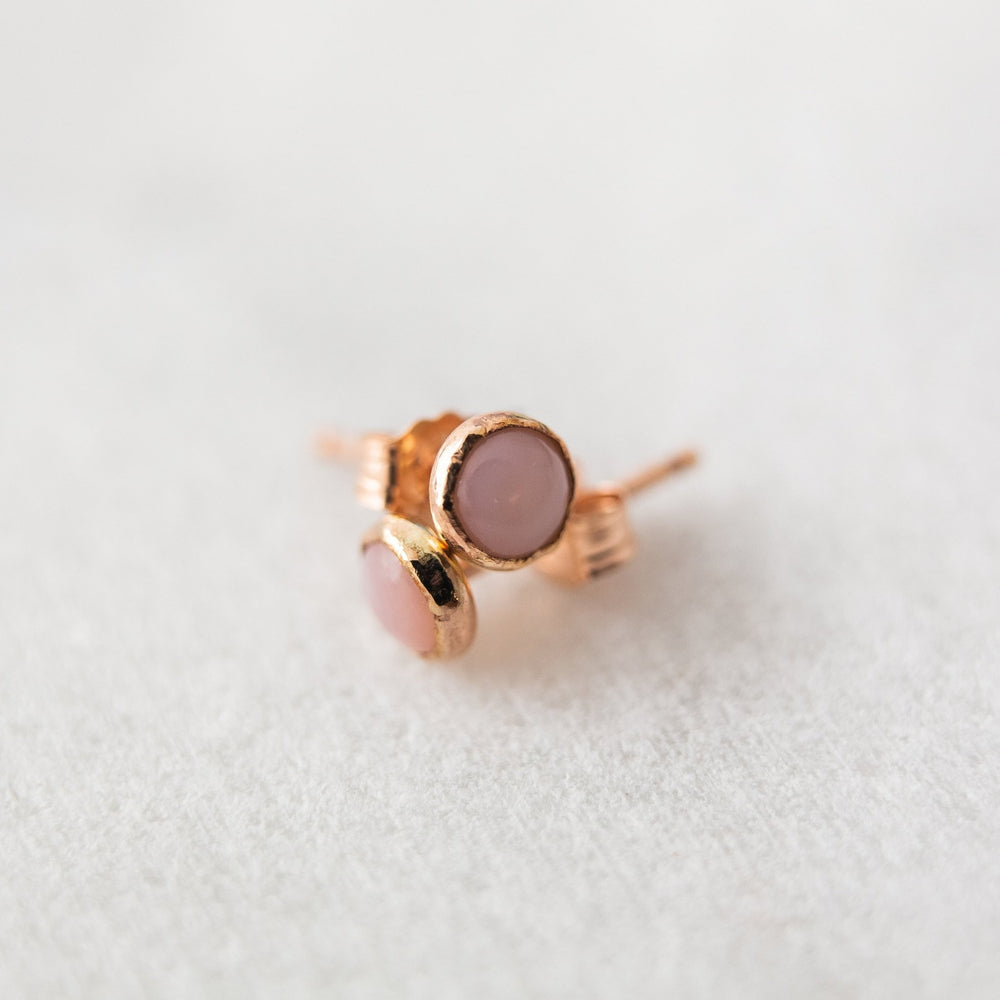 SAMPLE - Pink opal bezel stud earrings