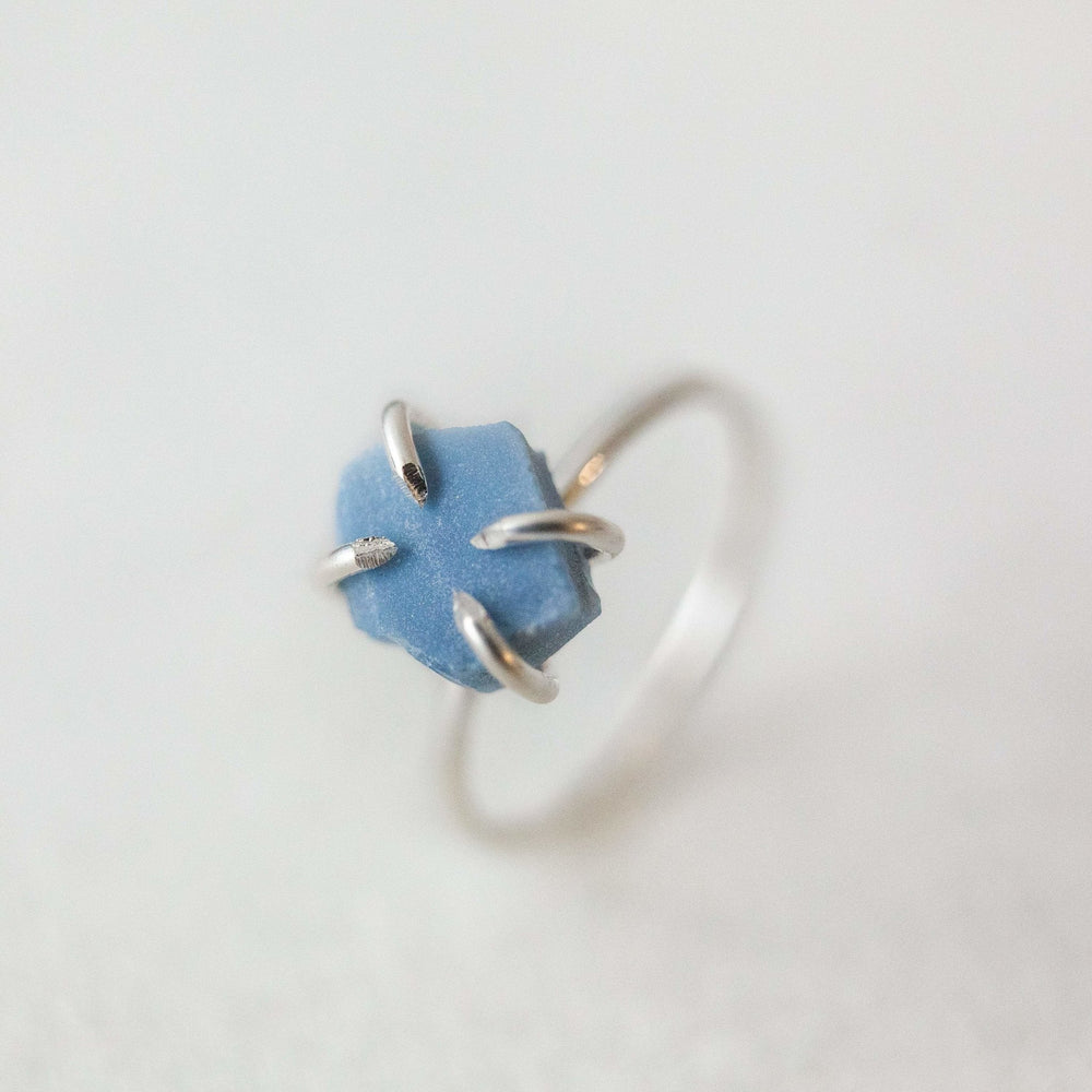 Sample - Raw blue opal gemstone solitaire ring