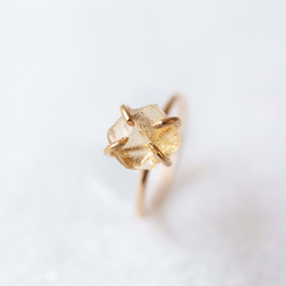 SAMPLE - Raw citrine gemstone solitaire ring