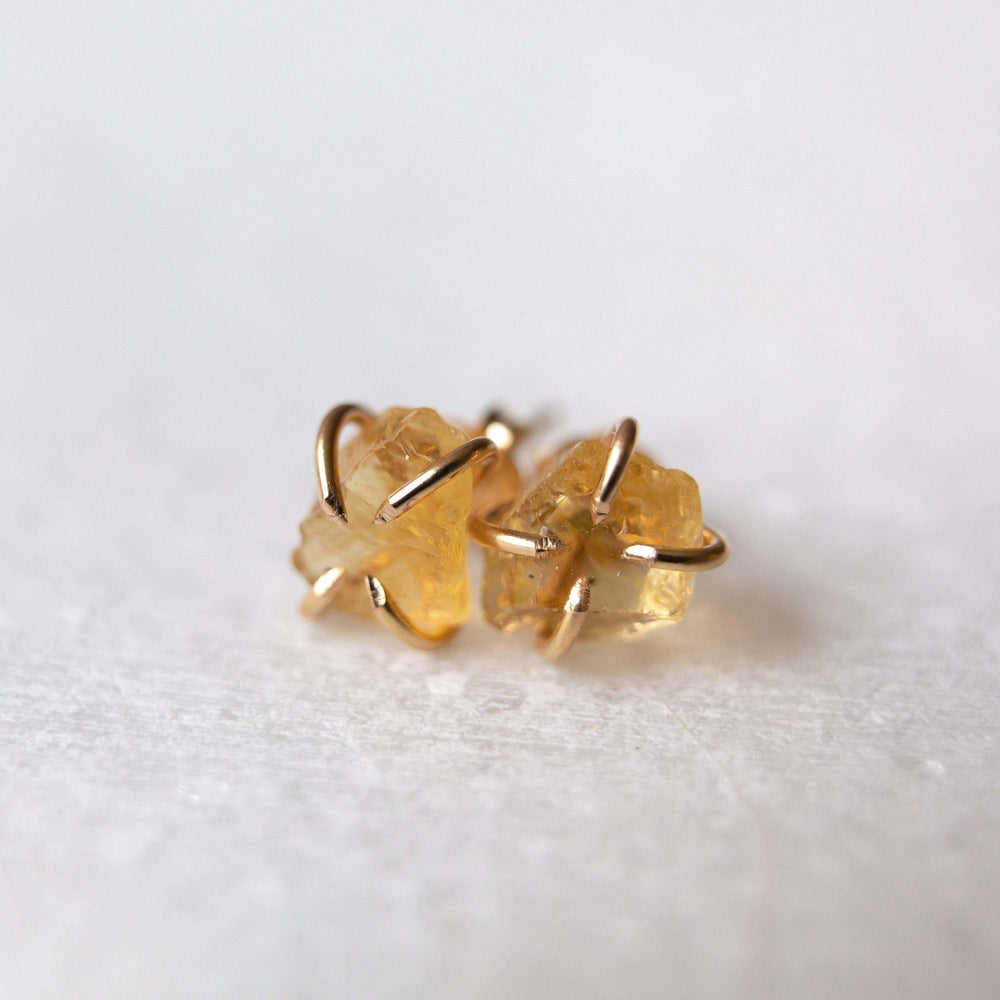 SAMPLE - Raw citrine gemstone stud earrings