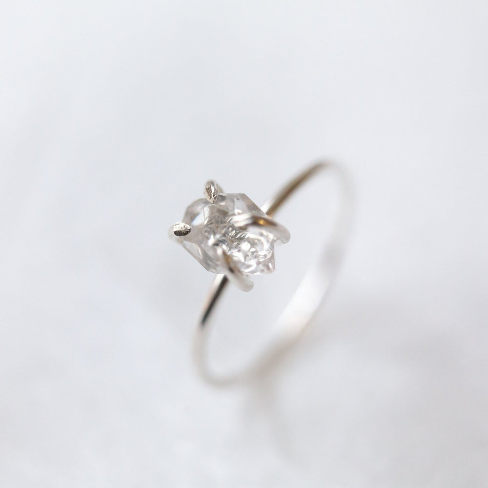SAMPLE - Raw herkimer diamond quartz prong set ring - luxe.zen