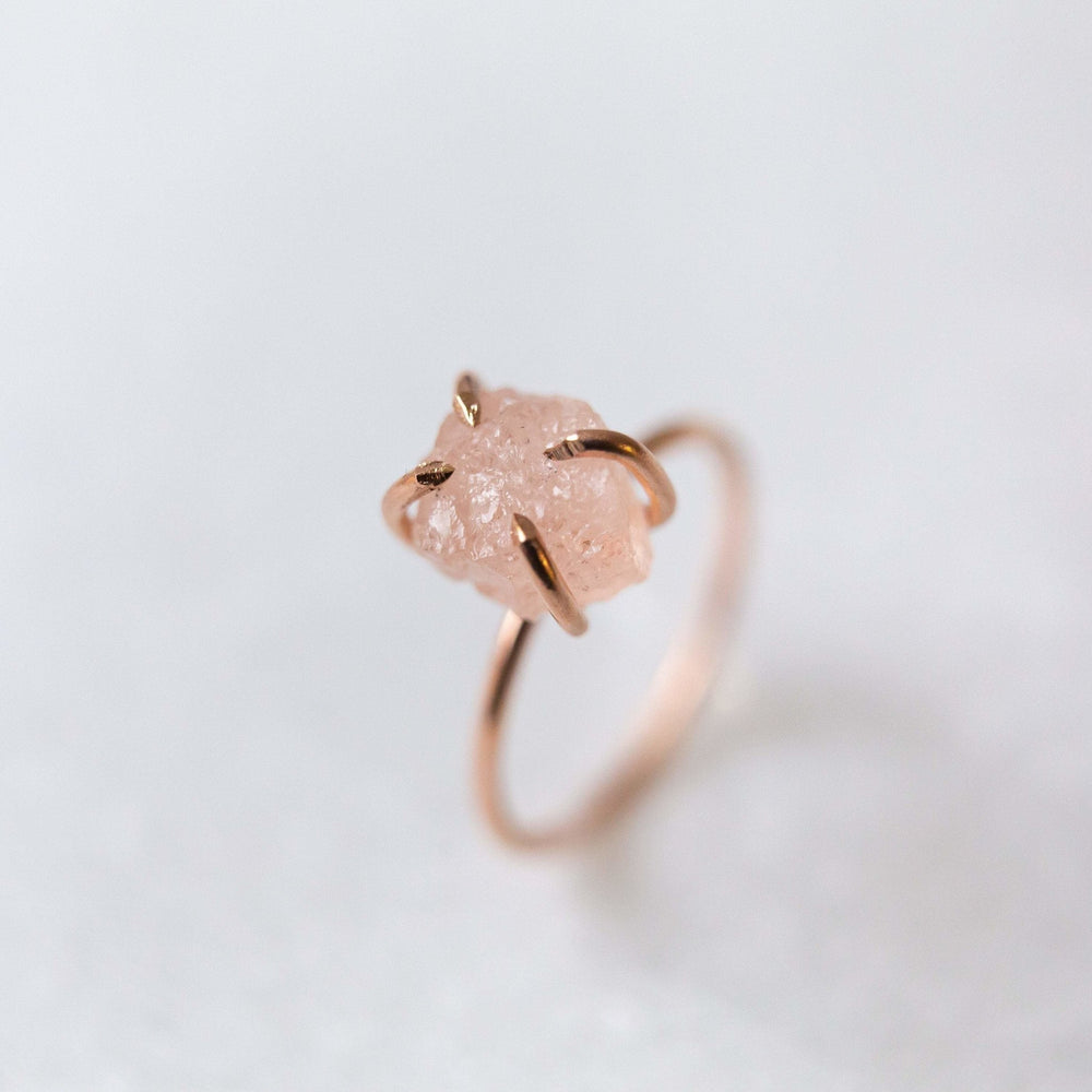 SAMPLE - Raw morganite gemstone ring