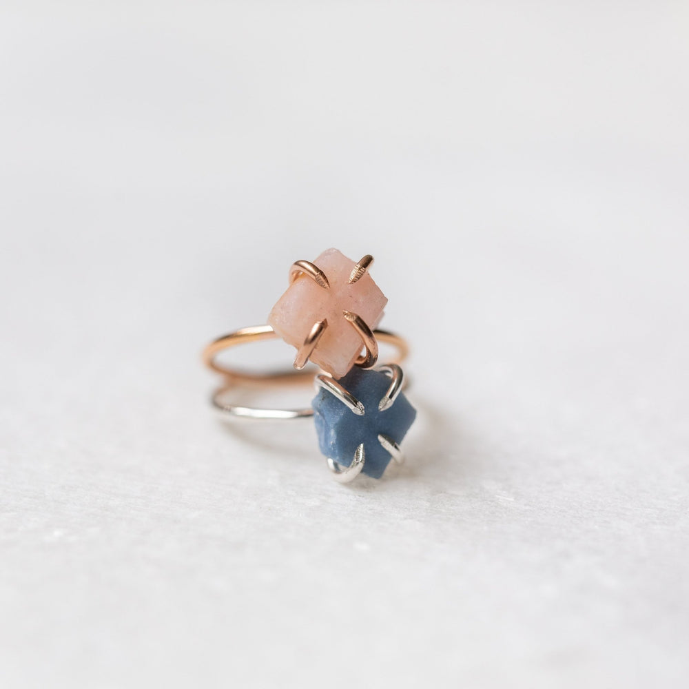 Sample - Raw pink opal gemstone solitaire ring - luxe.zen