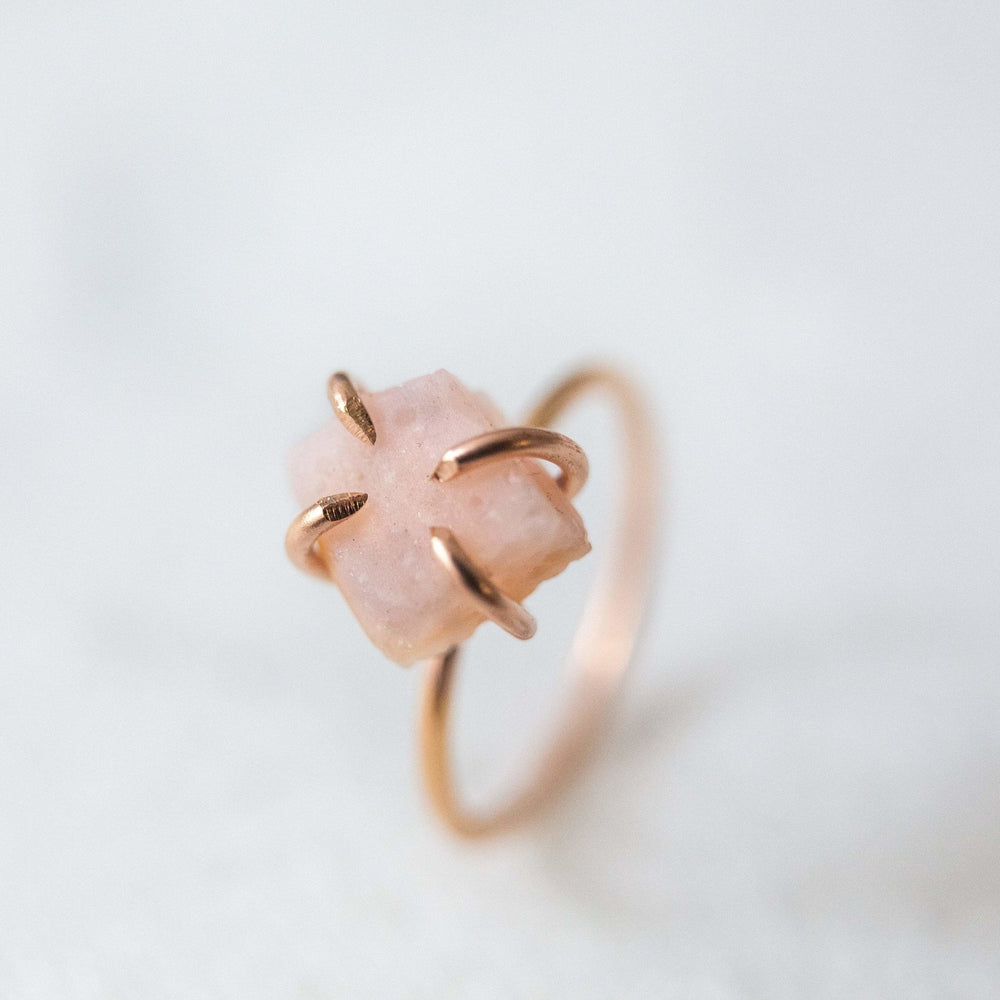 Sample - Raw pink opal gemstone solitaire ring