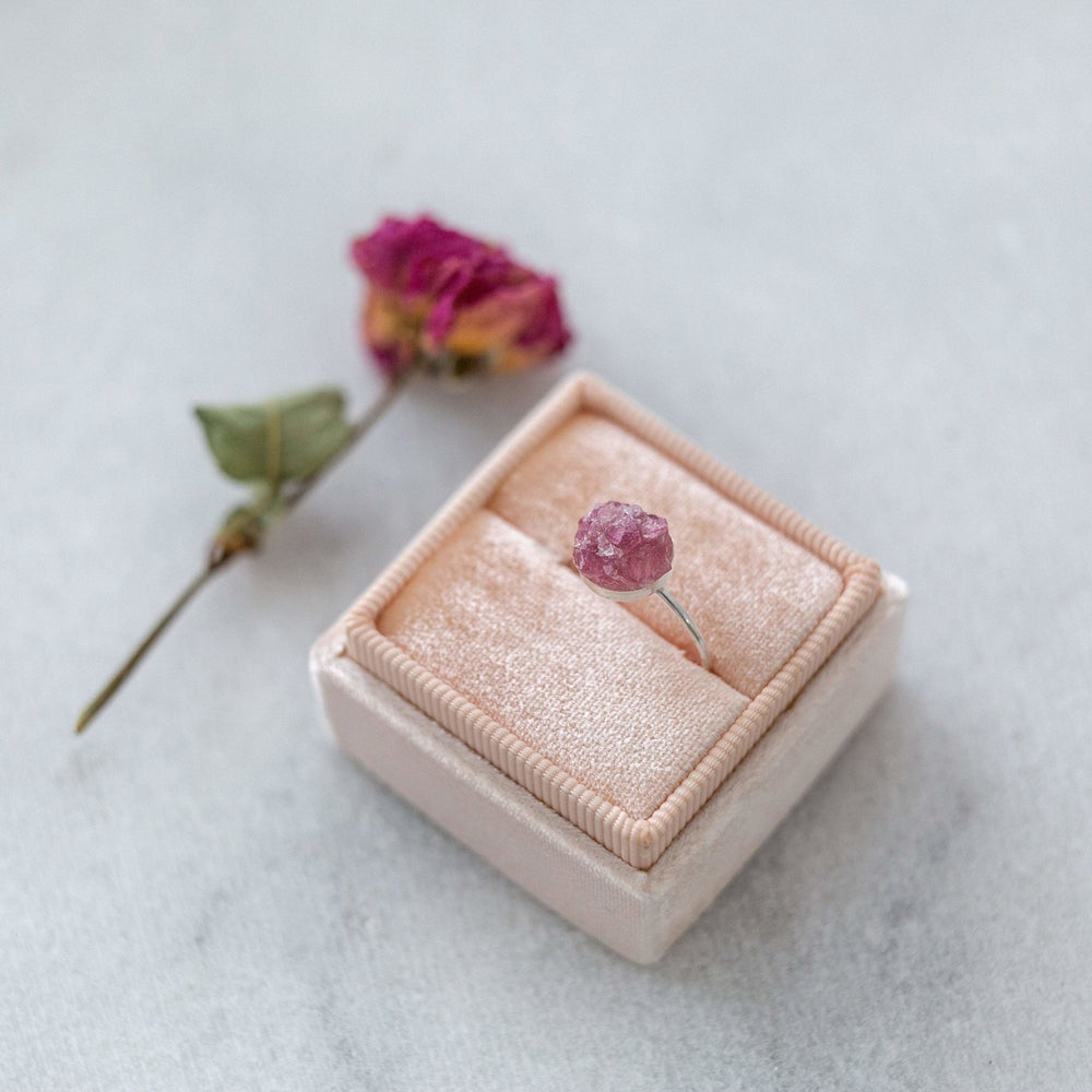 Sample - Raw pink tourmaline mosaic gemstone ring - luxe.zen