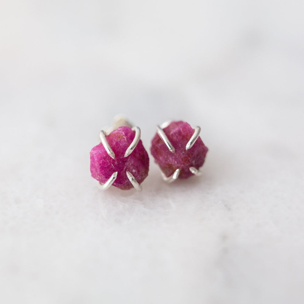SAMPLE - Raw ruby gemstone stud earrings