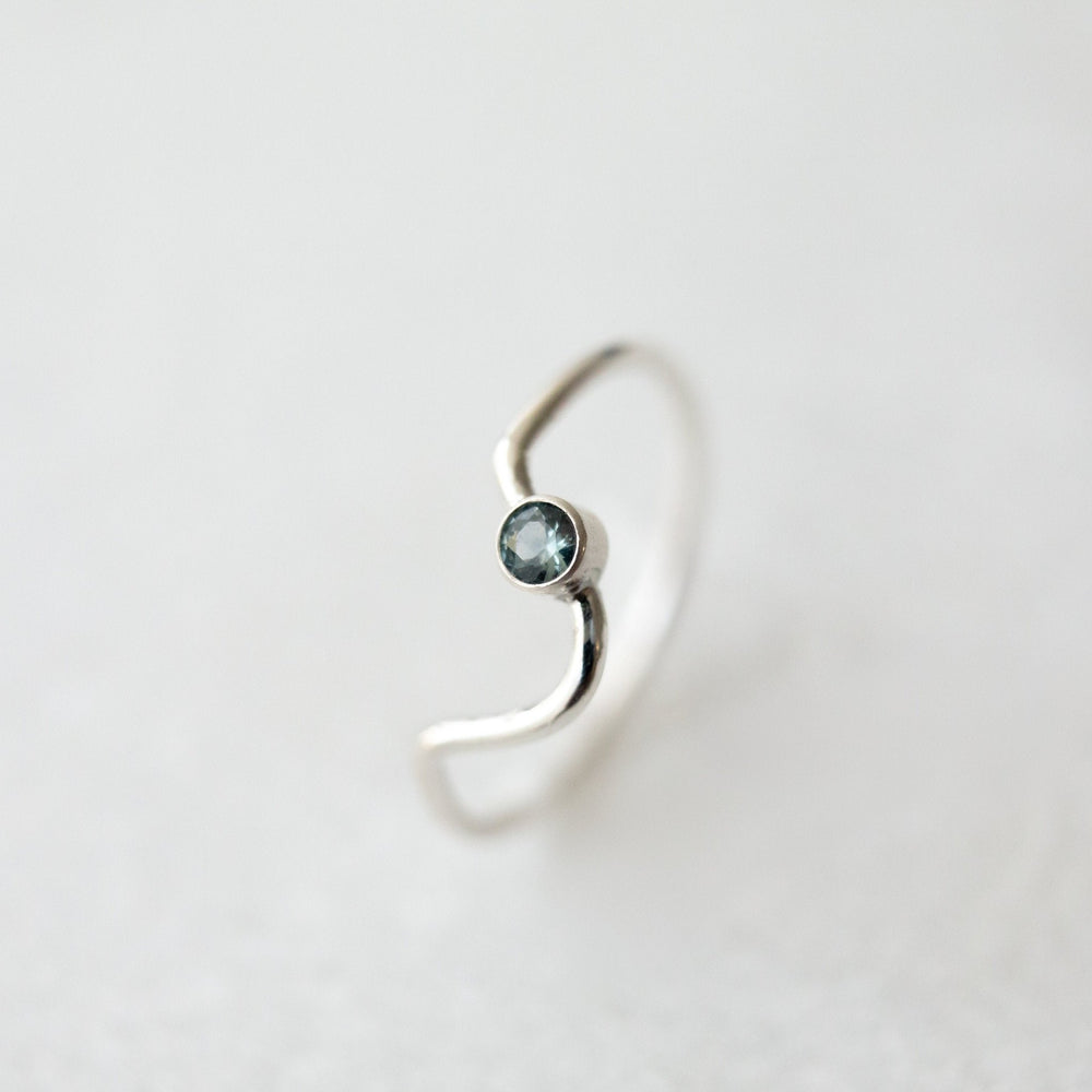 SAMPLE - Teal Montana sapphire outer orbit ring - luxe.zen