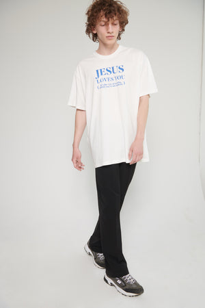 "Футболка ""Jesus loves you"" off-white c обычной горловиной"