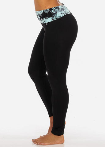 One Size Activewear Fold Over Waist Tie Dye Mint Print Stretchy Black Leggings
