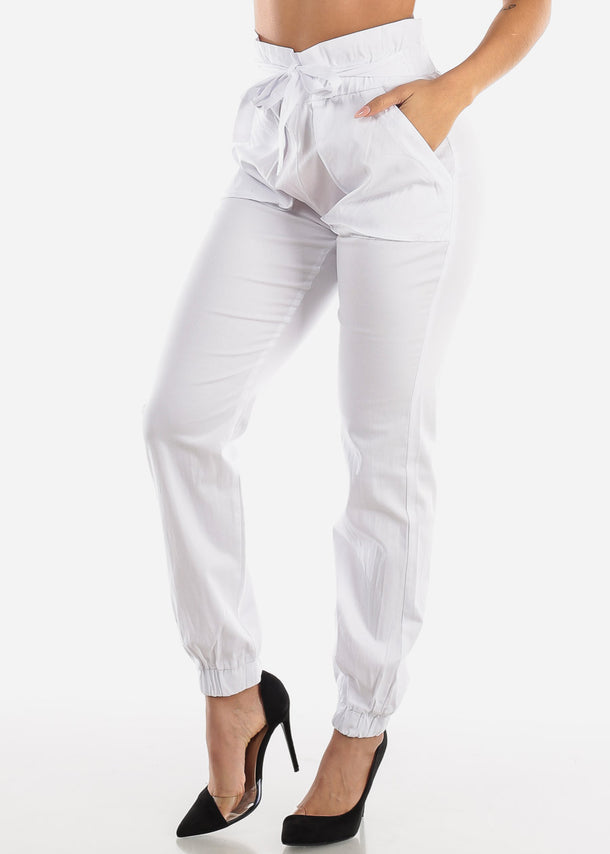White High Waist Jogger Pants with Cinched Belted Waist