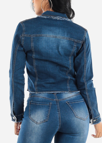 Image of Long Sleeve Dark Denim Jacket