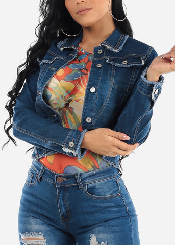 Long Sleeve Dark Denim Jacket