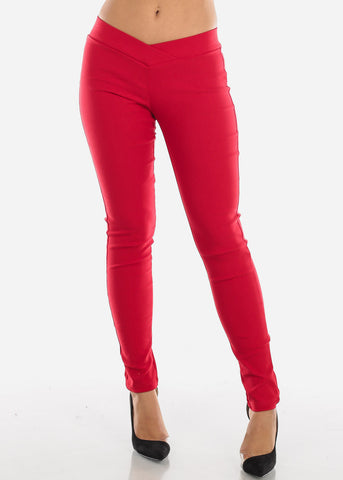 V-Waistline Red Skinny Pants