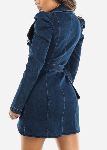 Image of Dark Wash Zip Up Denim Mini Dress