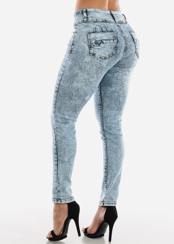 High Rise Push Up Marble Wash Skinny Jeans