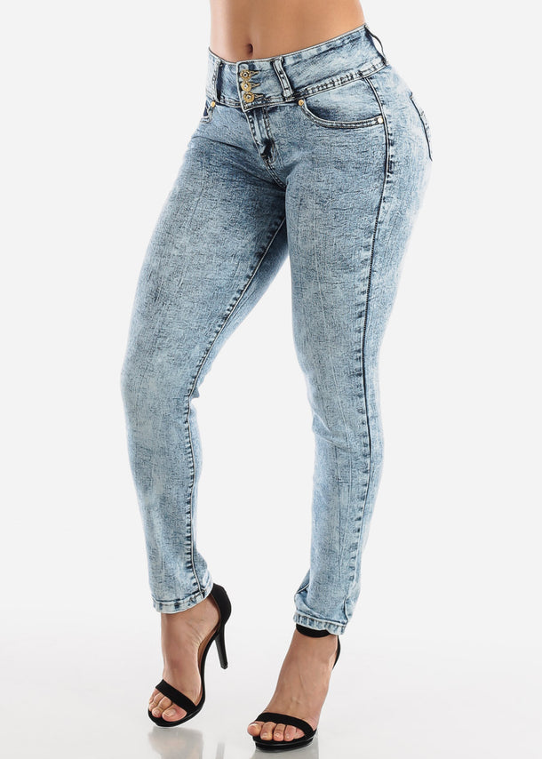 High Rise Butt Lifting Marble Wash Skinny Jeans