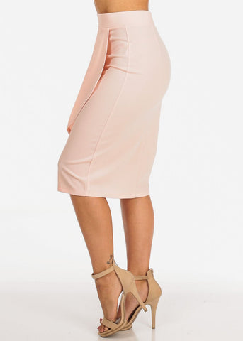 Image of Women's Junior Ladies Dressy Office Business Career Wear Front Ruffle Side Detail Light Pink Mauve Pencil Skirt