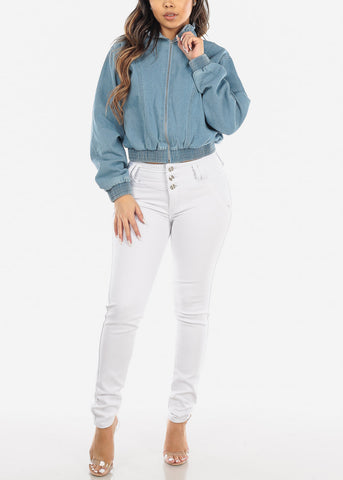 Image of Zip Up Light Wash Denim Jacket