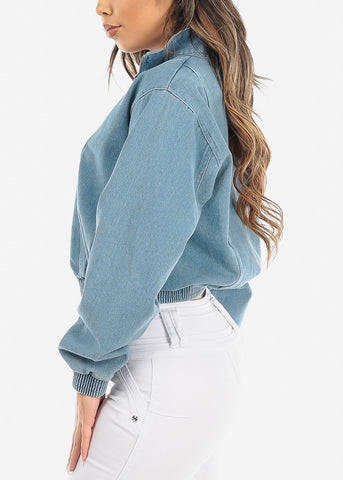 Zip Up Light Wash Denim Jacket