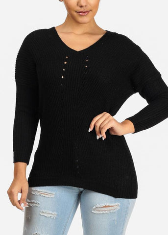 Image of Black Knitted V Neck Sweater