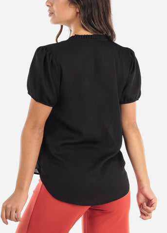 Ruffled Neckline Black V-Neck Blouse