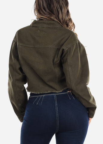 Image of Olive Green Denim Cropped Jacket