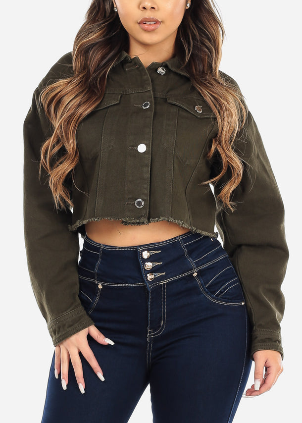 Olive Frayed Denim Cropped Jacket