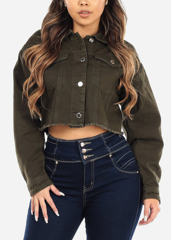 Image of Olive Frayed Denim Cropped Jacket