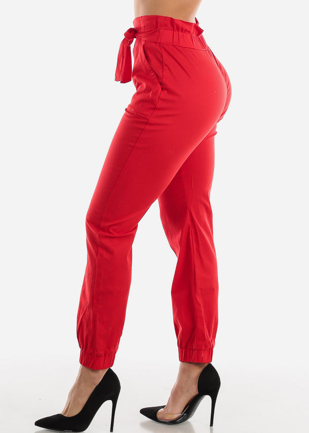 High Waist Red Jogger Pants with Cinched Belted Waist