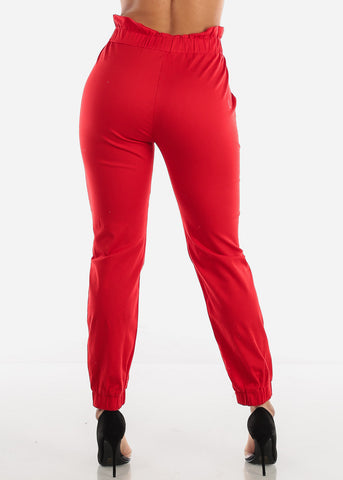 Image of Red Paperbag High Rise Jogger Pants