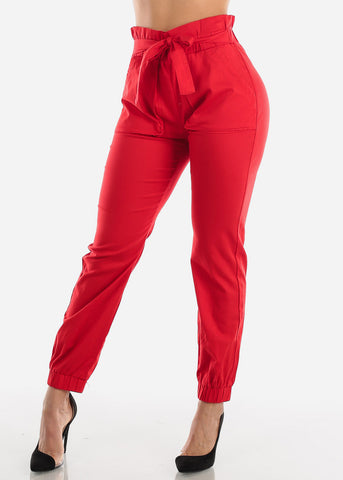Red Paperbag High Rise Jogger Pants