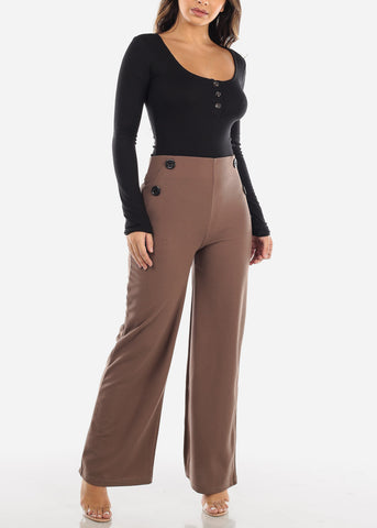 Image of High Rise Mocha Palazzo Trousers