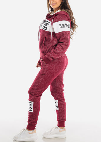 Image of Warm Burgundy Sweater & Pants (2 PCE SET)