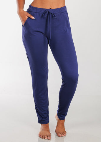 Image of Casual Drawstring Waist Blue Pants
