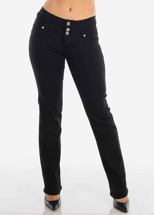 High Waisted Bootcut Solid Black jeans